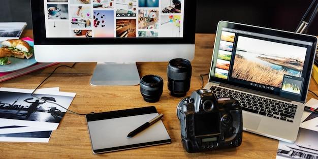 Cámara fotografía diseño estudio edición concepto Foto Premium