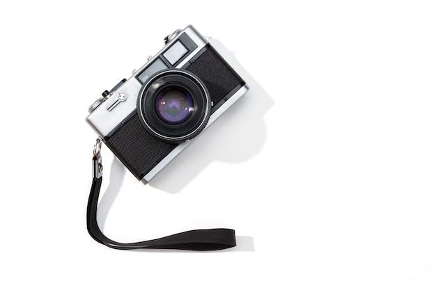 Cámara de película plana endecha aislada copie el espacio Foto Premium