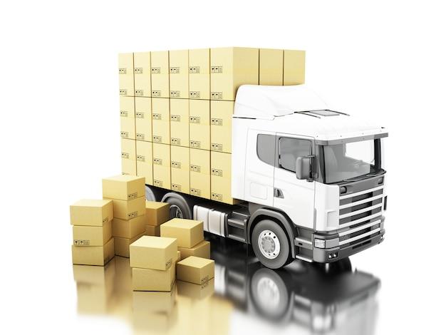 Camión 3d con cajas de cartón en la plataforma Foto Premium