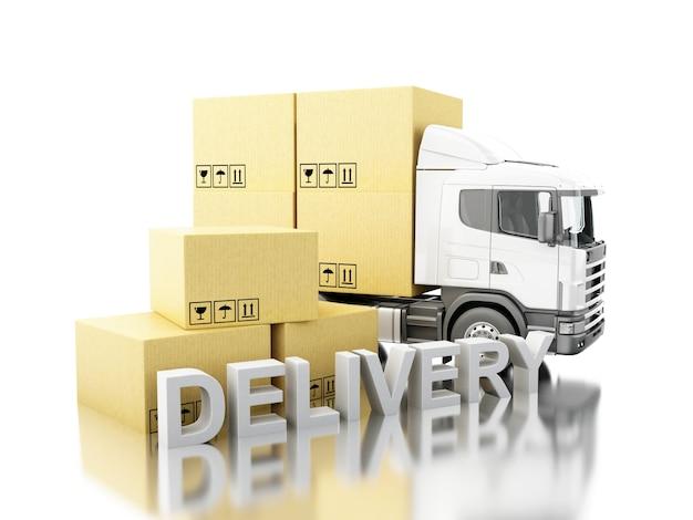 Camión 3d con cajas de cartón y Foto Premium