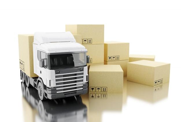 Camión 3d con cajas de cartón. Foto Premium