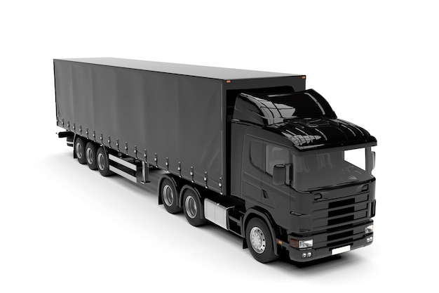 Camión grande negro aislado aislado en blanco Foto Premium
