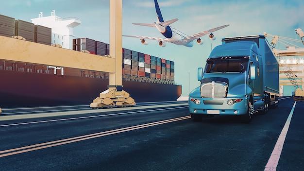 Los camiones de avión vuelan hacia el destino con los más brillantes Foto Premium