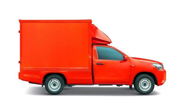Camioneta pick up roja con portaequipajes de contenedor para transporte Foto Premium