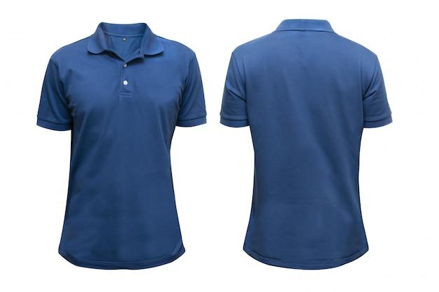 Camisa azul delantera y trasera en blanco aislada para maqueta de diseño gráfico Foto Premium