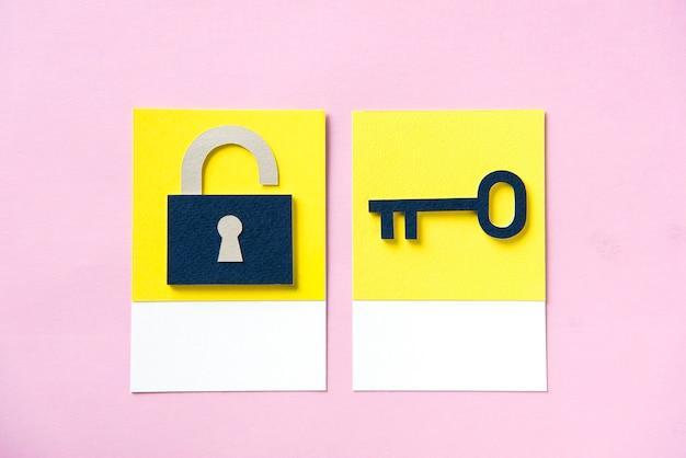 Candado de seguridad con llave. Foto Premium