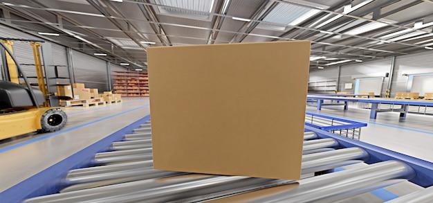 Cardbox en un almacén - representación 3d Foto Premium