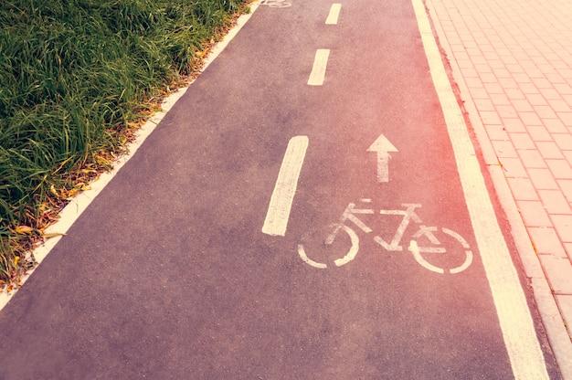 Un carril bici en un parque público diseñado para garantizar la seguridad de una bicicleta. Foto Premium