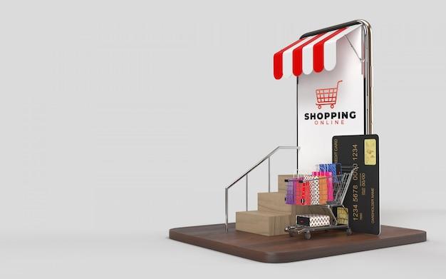 Carrito de compras, bolsas de compras, tarjeta de crédito, subir las escaleras y la tableta, que es una tienda en línea, mercado digital en internet. Foto Premium