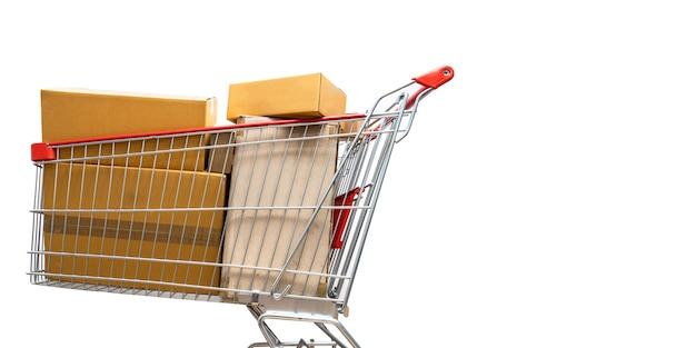 Carrito de compras lleno de cajas de compras. Foto Premium