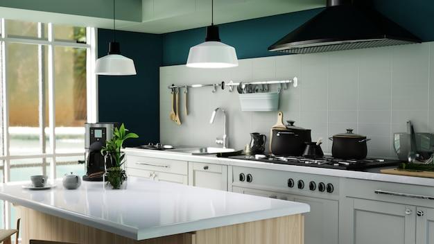 Cartel interior cocina moderna Foto Premium