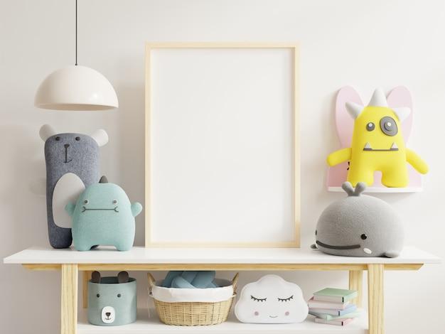 Carteles en el interior de la habitación infantil, carteles en la pared blanca vacía Foto Premium