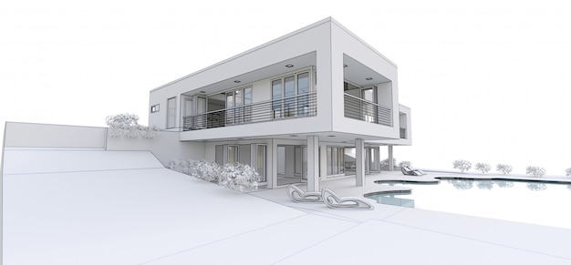 Casa moderna 3d,. ilustración 3d Foto Premium