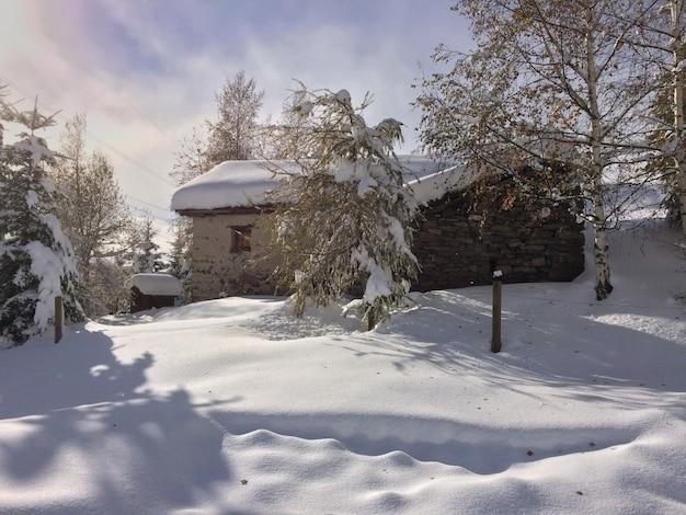 Casa en la nieve Foto Premium