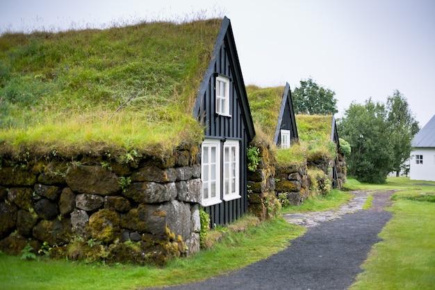 Casa rural típica islandesa cubierta de maleza en un día nublado Foto Premium
