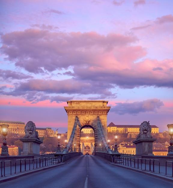Castillo de budapest y el famoso puente de las cadenas en budapest en un amanecer Foto Premium