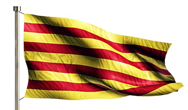 Cataluña bandera nacional aislado 3d fondo blanco Foto gratis