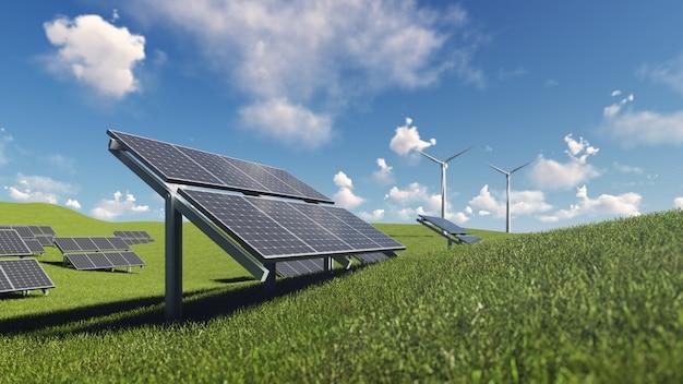Celda solar y turbina eólica sobre hierba verde Foto Premium
