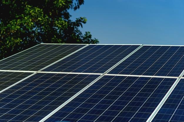 Las células solares convierten la energía solar del sol en energía. Foto Premium