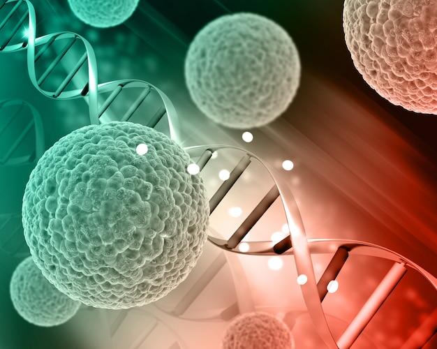Células de virus médicos 3d en hebras de adn Foto gratis