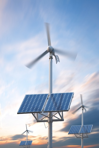 Central eléctrica con paneles fotovoltaicos y turbina eólica. Foto Premium