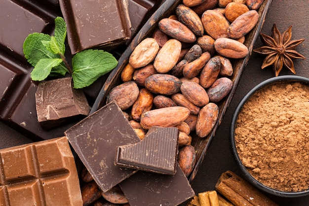 Cerca de sabrosos granos de cacao Foto gratis