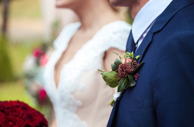 Ceremonia de la boda. novia y novio con espacio de copia Foto Premium