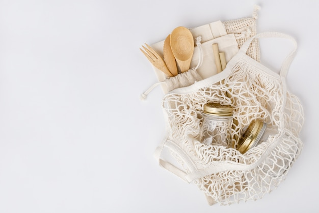 Cero desperdicio, reciclaje, concepto de estilo de vida sostenible, plano Foto Premium