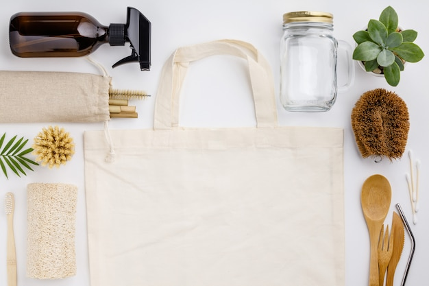 Cero desperdicio, reciclaje, concepto de estilo de vida sostenible Foto Premium
