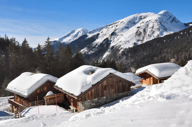 Chalets en las montañas Foto Premium