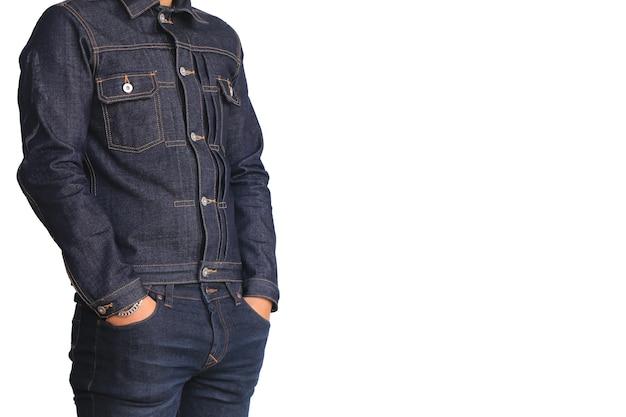 66443b80d Chaqueta del dril de algodón de los pantalones vaqueros del cierre aislada  en el fondo blanco | Descargar Fotos premium