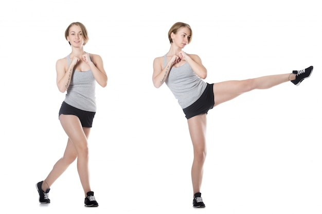 Chica haciendo movimientos aeróbicos | Descargar Fotos gratis
