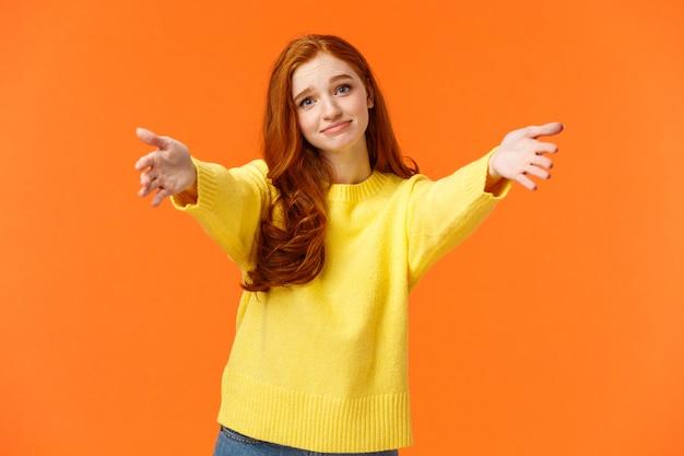 Chica Preguntando Ven Aqui Para Dar Un Abrazo Alegre Foto Premium