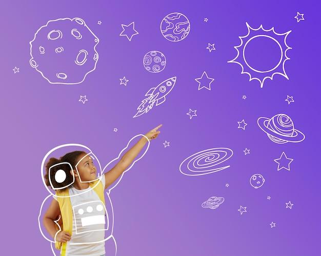 Chica de tiro medio con tema espacial Foto gratis