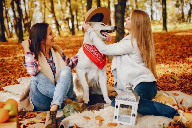 Chicas guapas se divierten en un parque de otoño Foto gratis