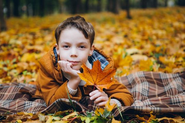 Chico lindo camina y posa en un colorido parque de otoño Foto Premium