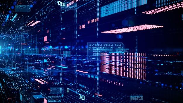 Ciberespacio digital y conexiones de red de datos. Foto Premium