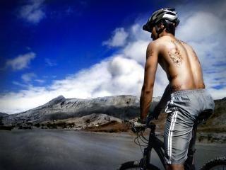 ciclista de montaña, bicicleta
