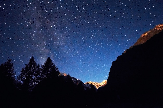 Cielo nocturno en las montañas. vía láctea. millones de estrellas Foto Premium