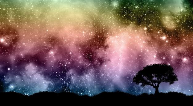 Cielo nocturno de starfield con siluetas de árboles. Foto gratis
