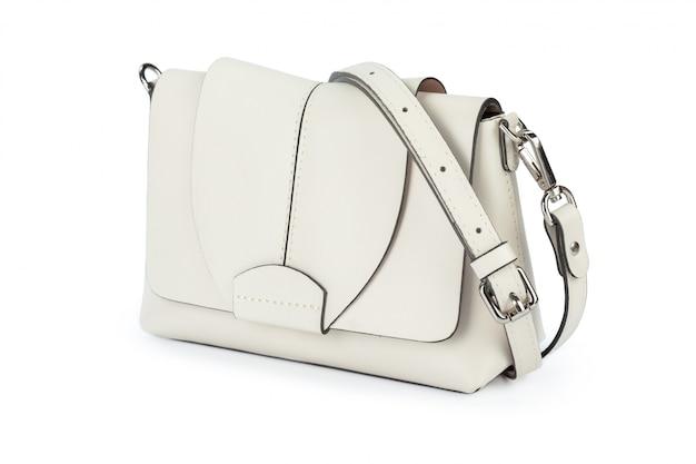 Ciérrese para arriba del bolso de señora aislado en el fondo blanco Foto Premium