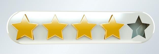 Cinco estrellas del ranking digital de oro renderizado 3d Foto Premium
