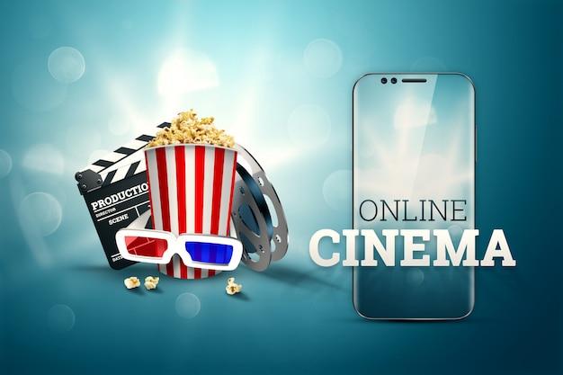 Cine, atributos de cine, cines, películas, visualización en línea, palomitas de maíz y gafas. Foto Premium