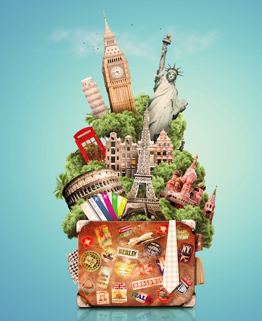 Ciudad en bolsa para viajar Foto Premium