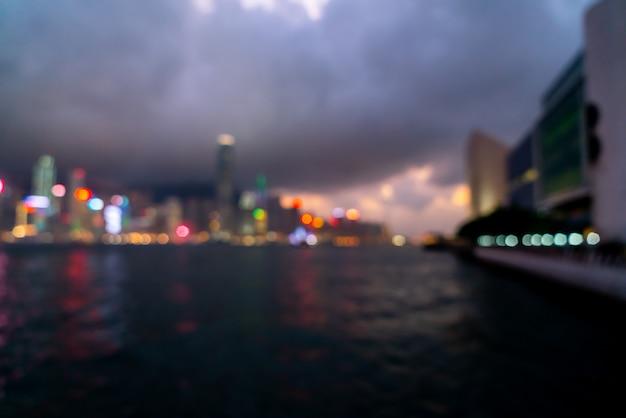Ciudad de hong kong en escena borrosa Foto Premium