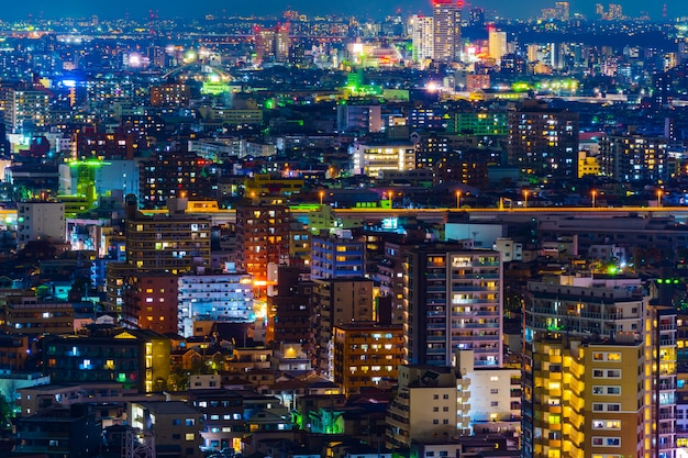 Ciudad De Tokio En La Noche Vista Desde La Terraza Del