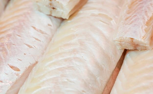 Close-up de carne de pescado fresco Foto gratis