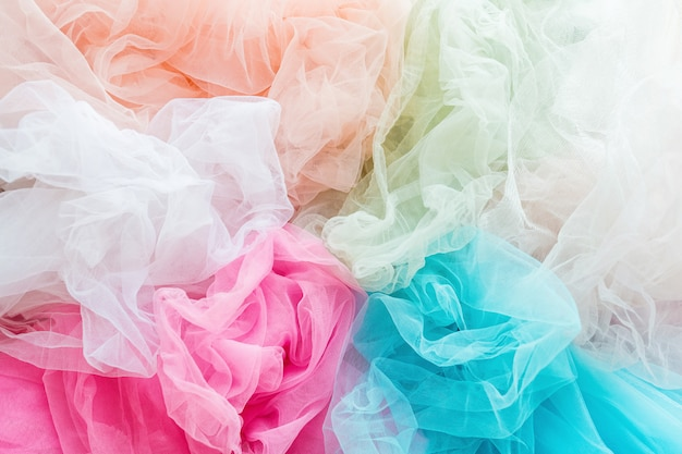 Closeup de tela de tul brillante y colorido Foto Premium