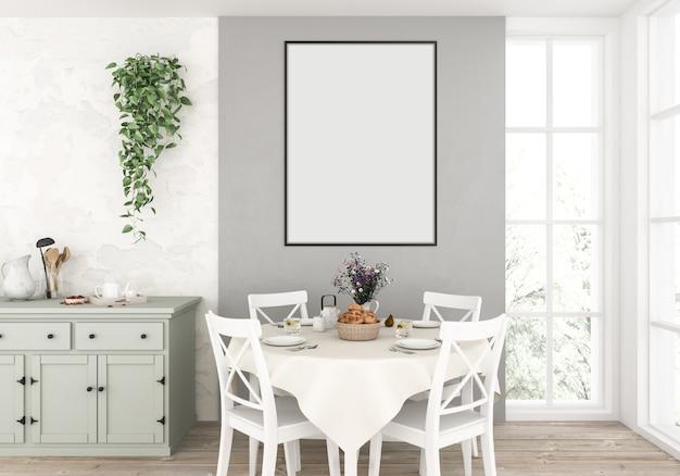 Cocina campestre con marco vertical vacío Foto Premium