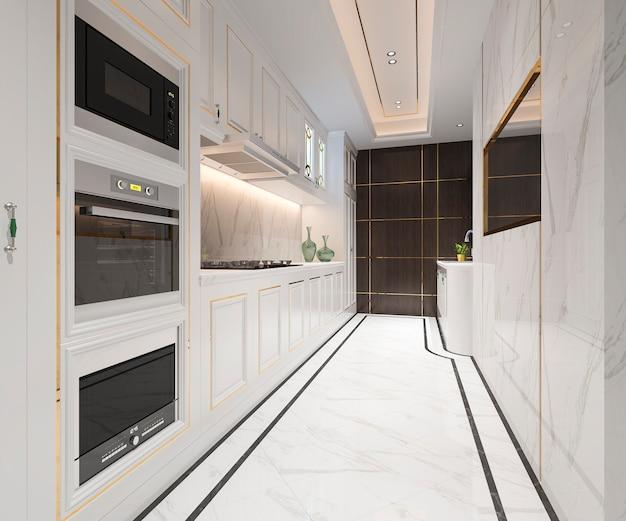 Cocina clásica blanca con diseño de lujo Foto Premium